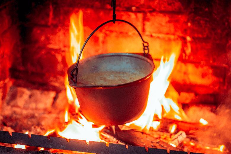 A Dutch Oven Over An Open Fire